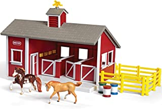 Breyer Stablemates Red Stable and Horse Set | 12 Piece Play set with 2 Horses | 11.5