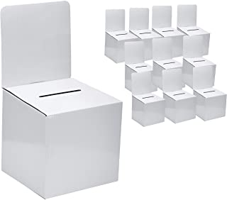 MCB - Cardboard Ballot Box - Donation Box - Suggestion Box (10 Pack) Medium Size 6 x 6 x 12 inches with removable header, ...