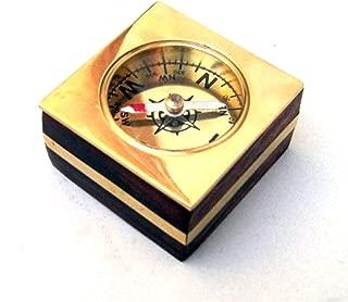 Wooden Desk Compass, Brass Inlay, 2.20