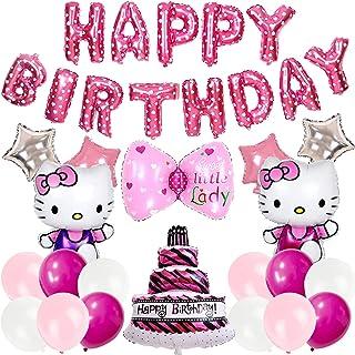Juego de globos temáticos - Miotlsy 21 piezas Hello Kitty suministros de fiesta de cumpleaños, globo de helio, globos de a...