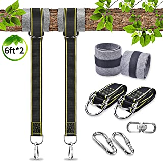 U-pick Tree Swing Hanging Kit Holds Max 4400lbs 6ft Extra Long, 2 Tree Swing Straps+2 Tree Protectors+2 Heavy Duty Screw Lock Carabiners+Swivel Fits for Any Swings Easy & Fast Installation