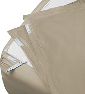 "QuickZip Fitted Sheet - Includes 1 Fitted Sheet Base & 2 Zip-On Sheets - Easy to Change, Fold & Wash King Sheet - Soft Sateen 400 TC Cotton Fitted Sheets – 17.5"" Deep Pockets King Size Sheets – Sand"