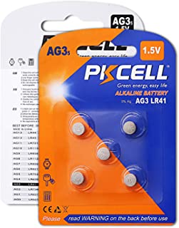 PKCELL AG3 1.5V Battery LR41 392 384 192 Button Alkaline Cell for Digital Thermometer- 5Count