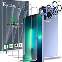 Ferilinso Designed for iPhone 13 Pro Screen Protector, 3 Pack HD Tempered Glass with 2 Pack Camera Lens Protector, Case Fr...