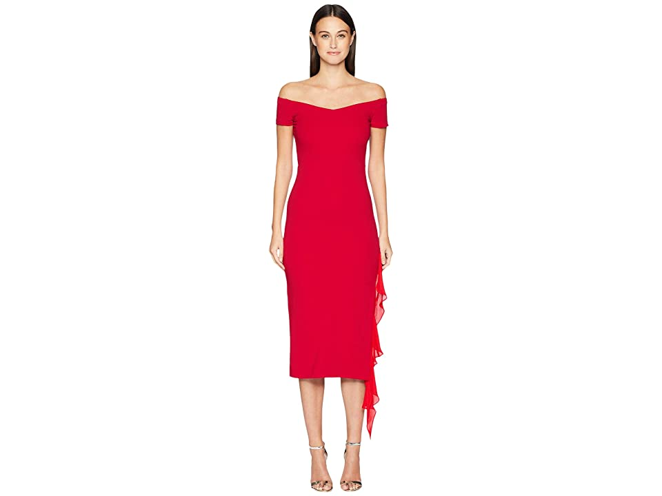 Nicole Miller Structured Heavy Jersey off Shoulder Dress (Red) Women