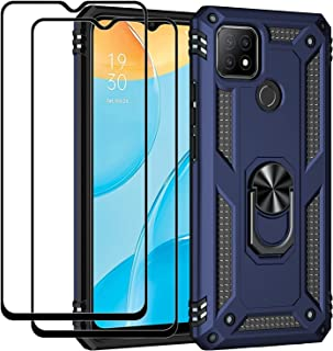 Fegishilly Kickstand Case with Screen Protector Tempered Glass [2 Pieces] Compatible with Oppo A15s / Oppo A15, Hybrid Hea...