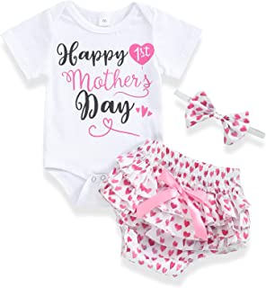 Happy First Mother's Day Newborn Baby Girl Letter Print Romper Love Heart Shorts with Headband Outfits Sets