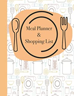 Meal Planner & Shopping List: 52 Weeks of Menu Planning Pages with Weekly Grocery Lists with Cooking Utensil Cover