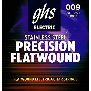 GHS PRECISION FLATS Flatwound String Set For Electric Guitar - 750 - Rock - 009/042