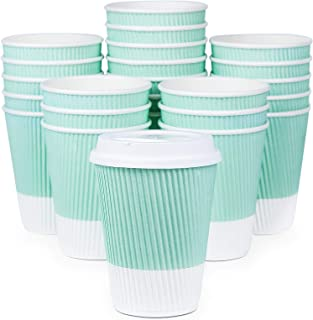 Premium Disposable Coffee Cups With Lids – (90) Durable 12 oz To Go Coffee Cups..