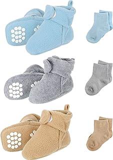 SATINIOR, 3 Botines de Felpa Bebé, Zapatos con 3 Medias de Algodón, 3 Colores, 0-6 Meses