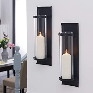 Danya B. Metal Pillar Candle Sconces with Glass Inserts (Set of 2) Black Iron