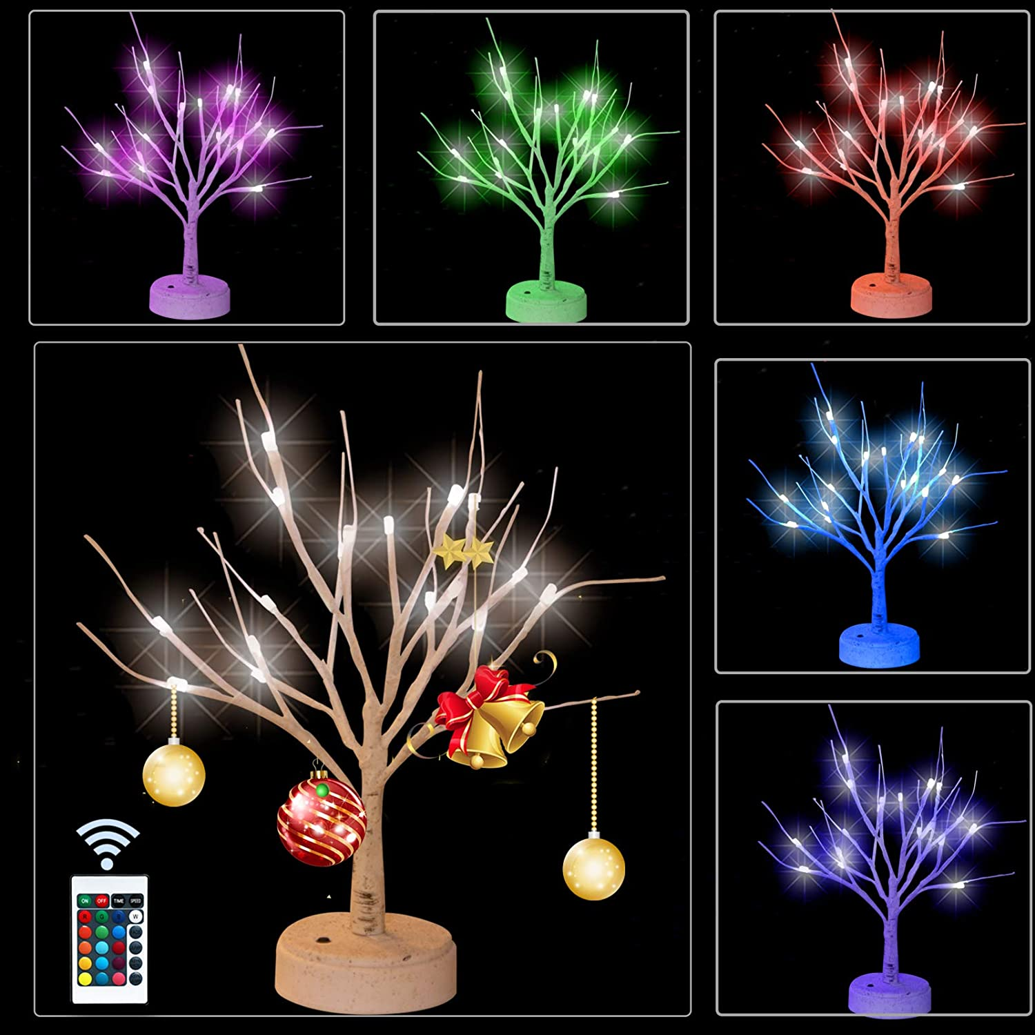 Elnsivo Lighted sold out Color Changing Year-end annual account Birch Christmas Remote with Tree