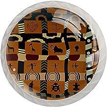 Lade knop Pull handvat 4 stuks Crystal Glass Cabinet lade trekt kast knopen,Afrika patroon kunst schilderij