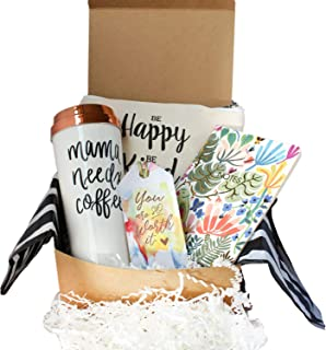 Special Birthday Gift Basket Box for Her- With a Mom life Coffee Travel Mug, Fancy Notebook,Spacious make up bag-Best Gifts For Women