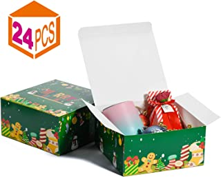 MESHA Gift Boxes Christmas Boxes for Gifts 8x8x4 Inch Kraft Gift Boxes with Lids 24-Pack Gift Wrapping Paper Boxes Boxes for Holiday Presents(Green-24Pack)