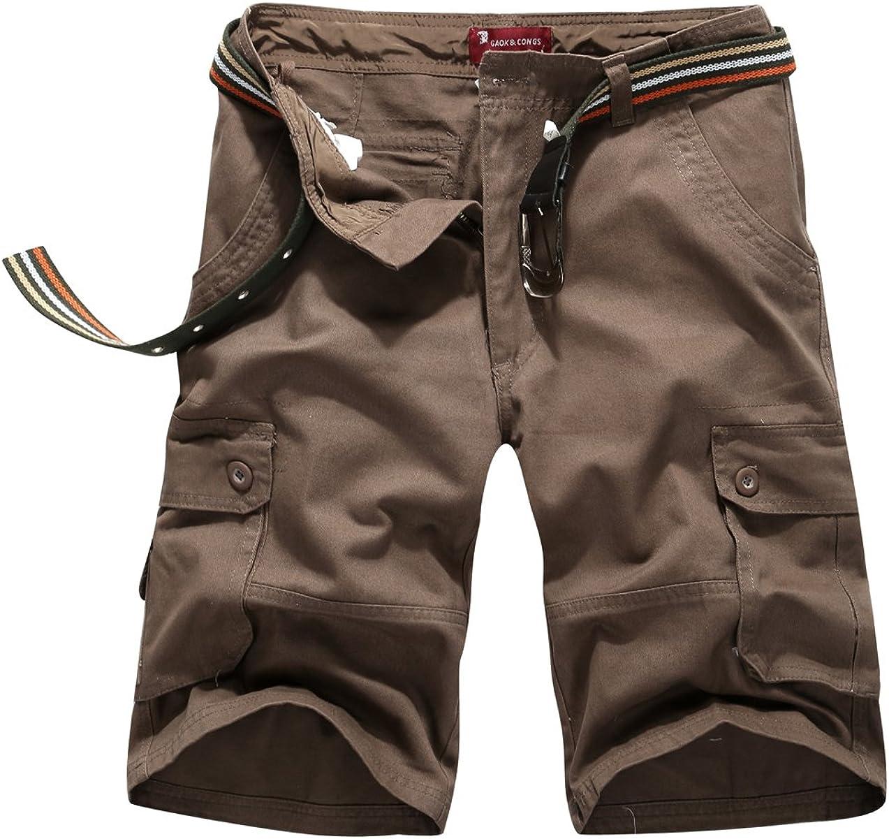 CANASOUR Mens Multi Pockets Jogger Capri Cargo Shorts