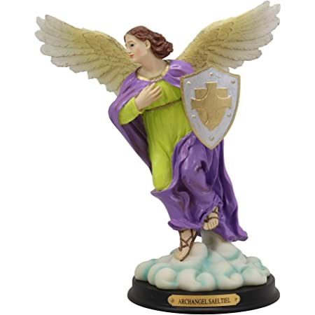 Amazon Com Ebros Holy Archangel Saint Selaphiel Sealtiel Carrying Shield Of Faith Statue With Brass Name Plate 10 Tall Angel Selaphiel Patron Of Worship Intercession And Prayer Of God Altar Collectible Figurine Home