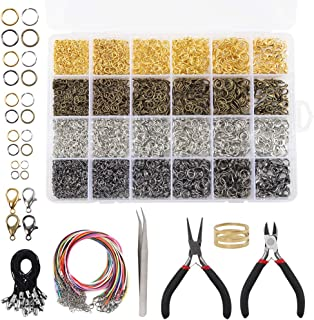 Quefe 4294pcs Jewelry Findings Kit with Open Jump Rings, Lobster Clasp, Black Lasso Strap, Colorful Waxed Necklace Cord, Jewelry Pliers for Jewelry Making Supplies and Necklace Repair