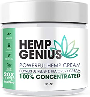 Hemp Genius Pain Relief Cream - Relieves Muscle, Joint Pain, Lower Back Pain, Knees, and Fingers - Inflammation - Hemp Ext...