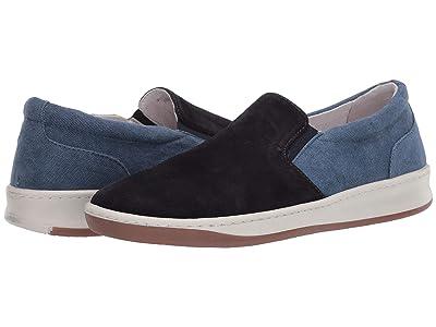 eleventy Suede/Canvas Slip-On Sneaker (Navy) Men