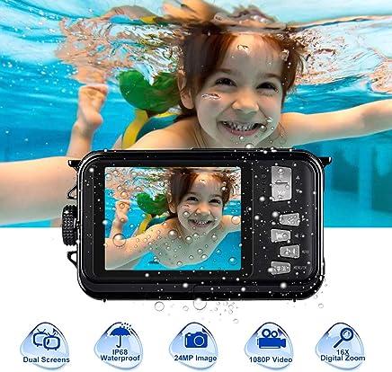 Camara Acuatica 24.0MP HD 1080P 3.0 Metros Camara Sumergibles para Snorkel a Prueba de Agua Completamente Sellada Camara de Fotos Acuatica 2.7 Pulgadas de Pantalla Doble TFT-LCD, Negra