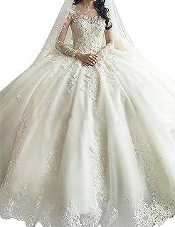 ebd29172293 Annxrose Women s Ball Gown Long Sleeve Appliques Tulle Scoop Neck Wedding  Dress Bridal Gown