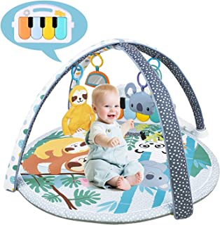 WYSWYG Stimulating Baby Play Mat - 3 in 1 Baby Gym with 4 Hanging Toys & 30 Balls - Infant Playmat for Tummy Time - Educat...