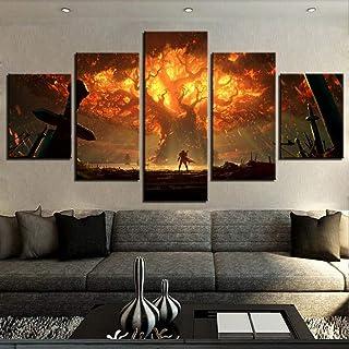 TRHHG 5 pinturas de lienzo impresas de alta definición, World of Warcraft, pinturas de pósters, pinturas de decoración del hogar(Tamaño sin marco)