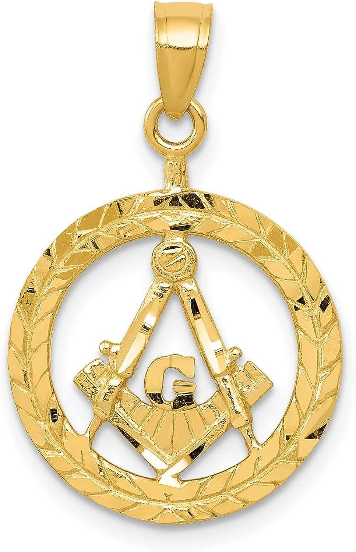14k Ranking TOP15 Yellow Gold Freemason Symbol Inside Style Round Wreath overseas Open