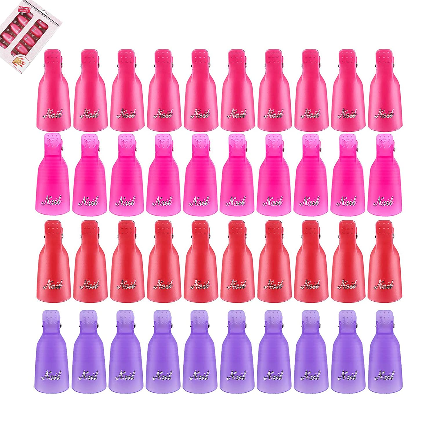 Permotary 40 Pcs Plastic Max Ranking integrated 1st place 85% OFF Nail Remover Soak Clips Art Of Cap