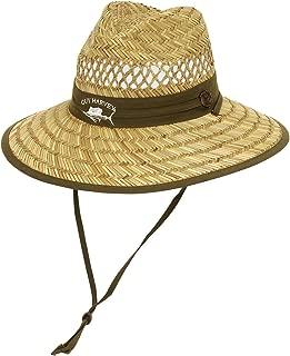 Guy Harvey Rush Straw Hat w/Sailfish Embroidered Cotton Trim