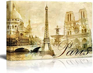 wall26 - Canvas Prints Wall Art - Amazing Paris - Vintage Clipart (Eiffel)   Modern Wall Decor/Home Decoration Stretched Gallery Canvas Wrap Giclee Print. Ready to Hang - 24