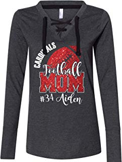 Custom Football Mom Women's Fine Jersey Lace-Up Long Sleeve T-Shirt Glitter Design Spirit Wear Glitter Bling Design Mother