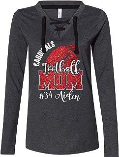 Custom Football Mom Women's Fine Jersey Lace-Up Long Sleeve T-Shirt Glitter Design Spirit Wear Glitter Bling Design Mother