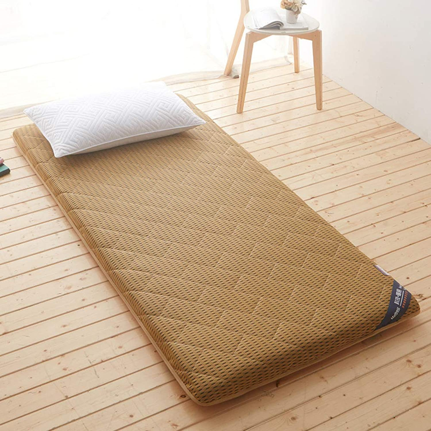 Premium Tatami Floor mat Mattress,Folding Japanese futon Predector Mattress pad Topper Student Dormitory mattresses-Light tan 60x120cm(24x47inch)
