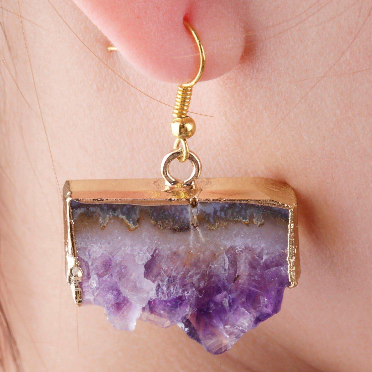 SUNYIK Natural Gemstone Quartz Geode Drusy Crystal Dangle Earrings for Women