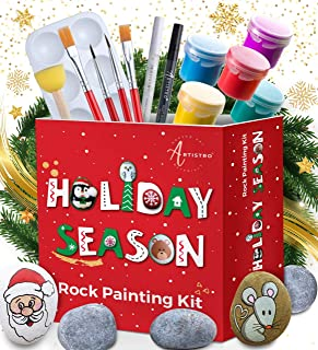 Rock Painting Kit Art Set – Rock Painting Supplies with 10 Smooth Rocks for Painting, Waterproof Acrylic Paint, Rock Art Supplies for Kids Crafts & Adult Craft Kit for Hide and Seek or Kindness Rocks