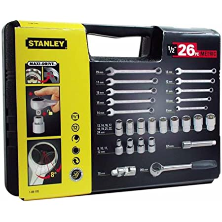 """Stanley 1-89-105 Coffret A Douilles 12 Pans 1/2"""" + Cliquet 1/2"""" + Cles Mixtes - Système Maxidrive - Angle De Reprise 8° - Jeu De 26 Pièces"""