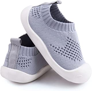 Charrost Baby First-Walking Shoes 1-4 Years Kid Shoes Trainers Toddler Infant Boys Girls Soft Sole Non Slip Cotton Canvas Mesh Breathable Lightweight TPR Material Slip-on Sneakers Outdoor