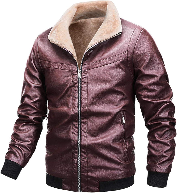 Men Fleece Lined Jacket Warm Sherpa Winter Botton Down Borg Collar Coat with Fur Denim Trucker Outwear (Red Wine,3X-Large)