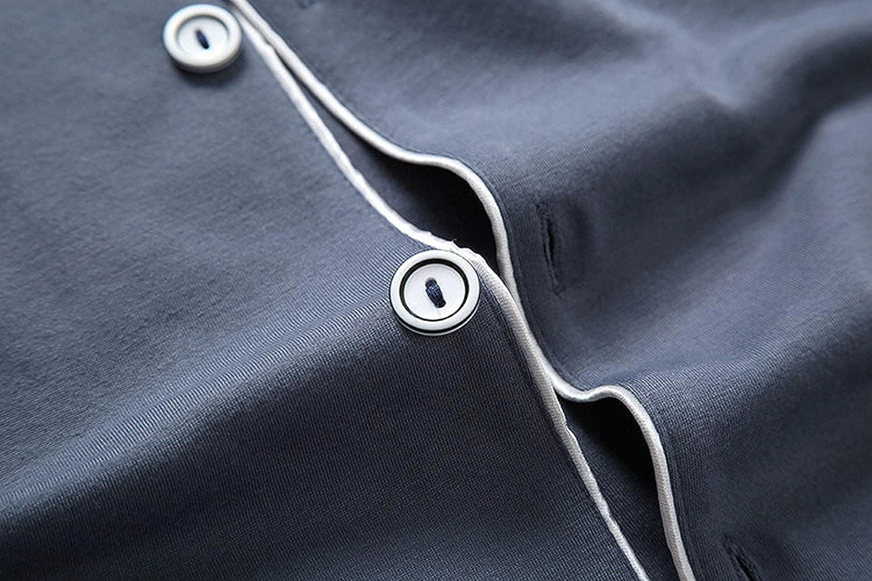 GUBIDIAO Men's 2PCS PJS Nightwear Sleepwear Button Down Long Sleeve Sleepshirt with Pants Nightie Sleep Sets