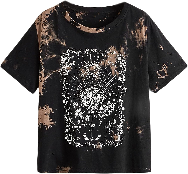 SOLY HUX Women's Plus Size Tie Dye Short Sleeve Tee Sun Print T Shirt Top
