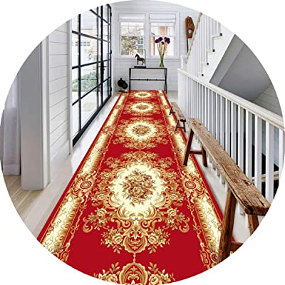 JIAJUAN Hallway Runner Rug Floral Printed Trendy Design Anti-Slip Low Pile Area Rugs Entry Utility Mats, 2 Colors (Color : Red, Size : 60x400cm)