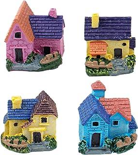 AUEAR, 4 Pack Miniature Dollhouse Resin Villa Decor Gardening Landscape Micro DIY Bonsai Terrarium Crafts Desk Ornaments A...