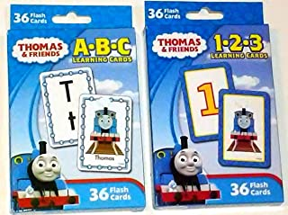 Thomas the Train and Friends Set of 2 Learning Flash Cards Packs/Decks (ABC and 123) Alphabet Counting 1-2-3 Letters Numbe...