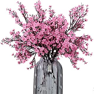 JAKY Global Babys Breath Fabric Cloth Artificial Flowers 4 Bundle European Fake Silk Plants Decor Wedding Party Decoration Bouquets Real Touch DIY Home Garden(Pink)