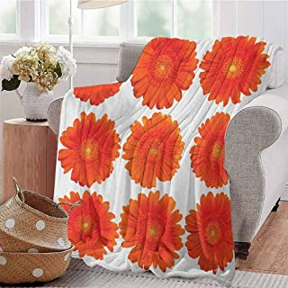 Luoiaax Orange Comfortable Large Blanket Collection of Orange Gerberas Botanical Bouquet Seasonal Growth Garden Spring Theme Microfiber Blanket Bed Sofa or Travel W80 x L60 Inch Orange
