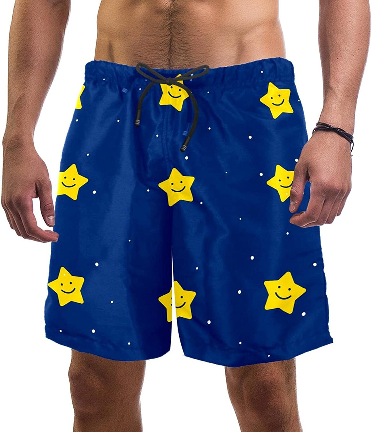 Wanlipous Men's Beach Shorts Cute Star Now on sale Blue Space Same day shipping Background Qui