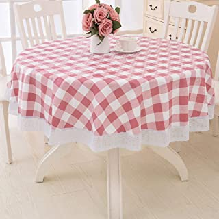 Round Vinyl Lace Tablecloth Waterproof PVC Plastic Wipeable Spillproof Peva Heavy Duty Stainproof Oilcloth Tablecloth with Flannel Back for Card Table Red+White Plaid 60 Inch